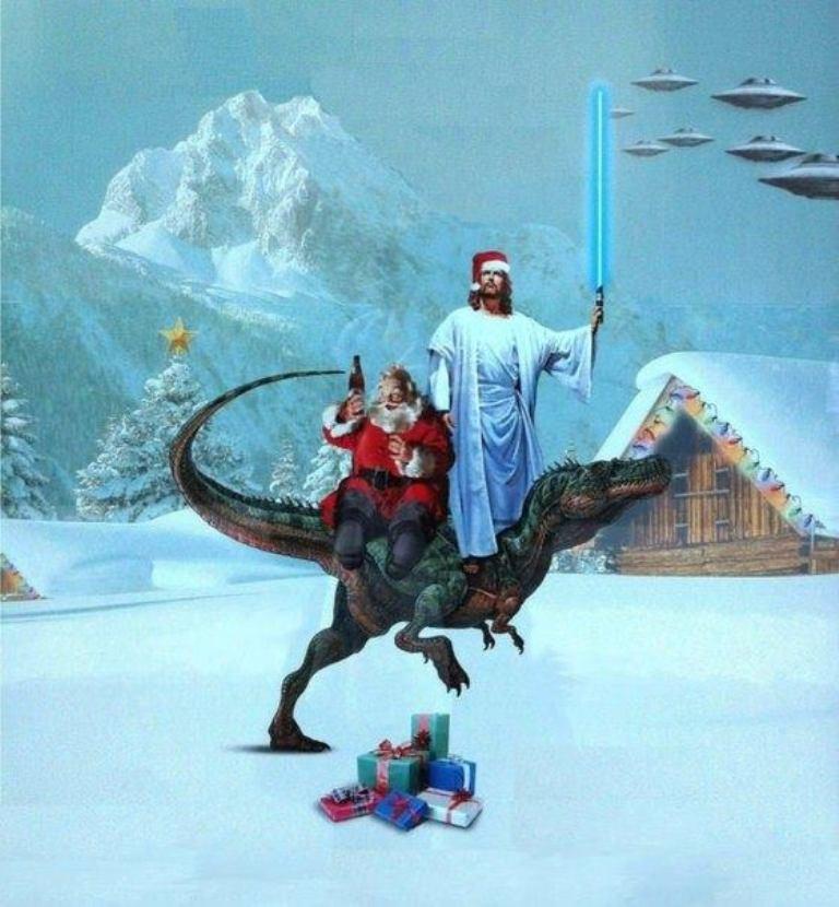 Santa Christ Jedi Rapter vs UFOs