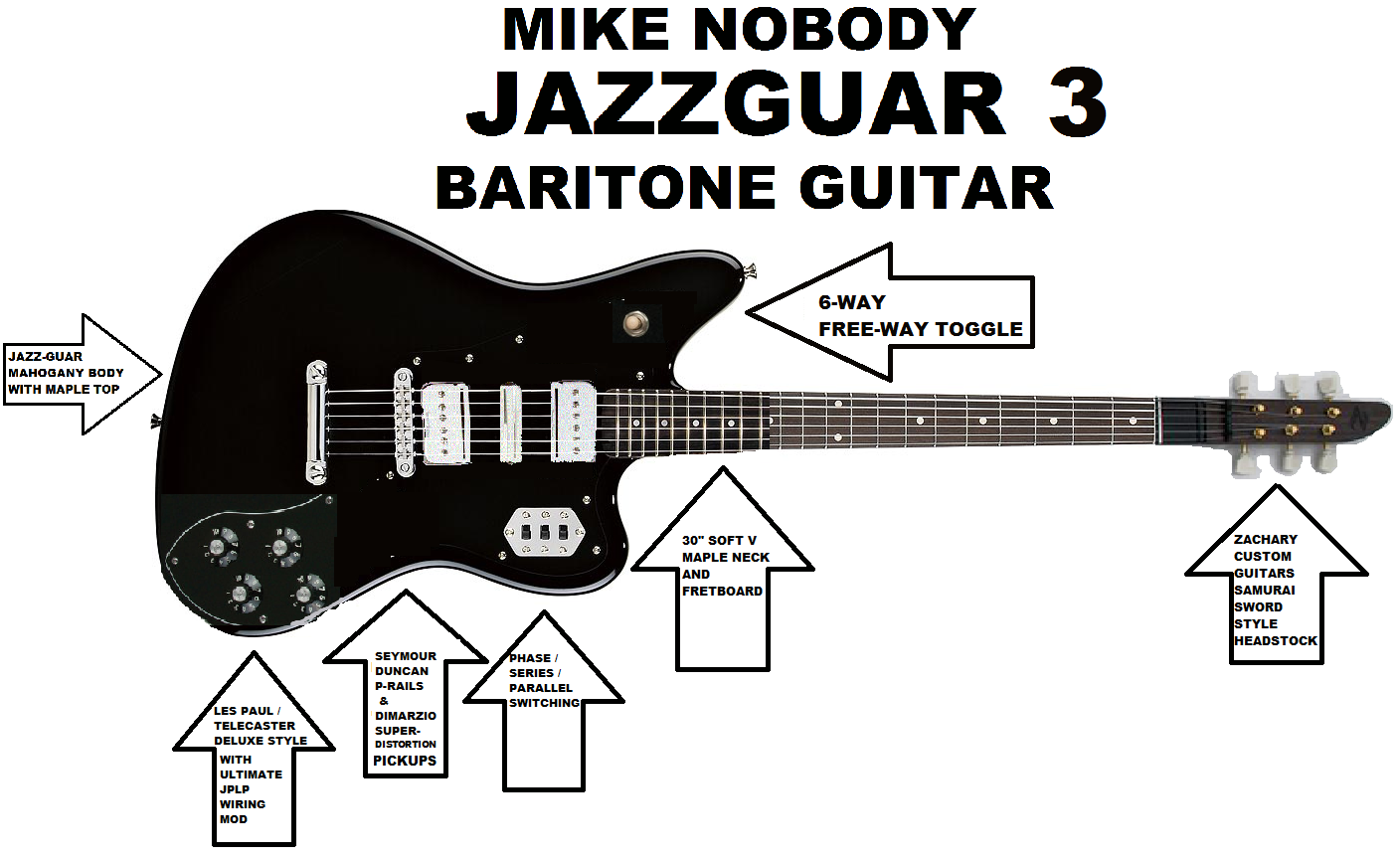 NegativeM+ Mike Nobody Jazzguar 3 Baritone Guitar
