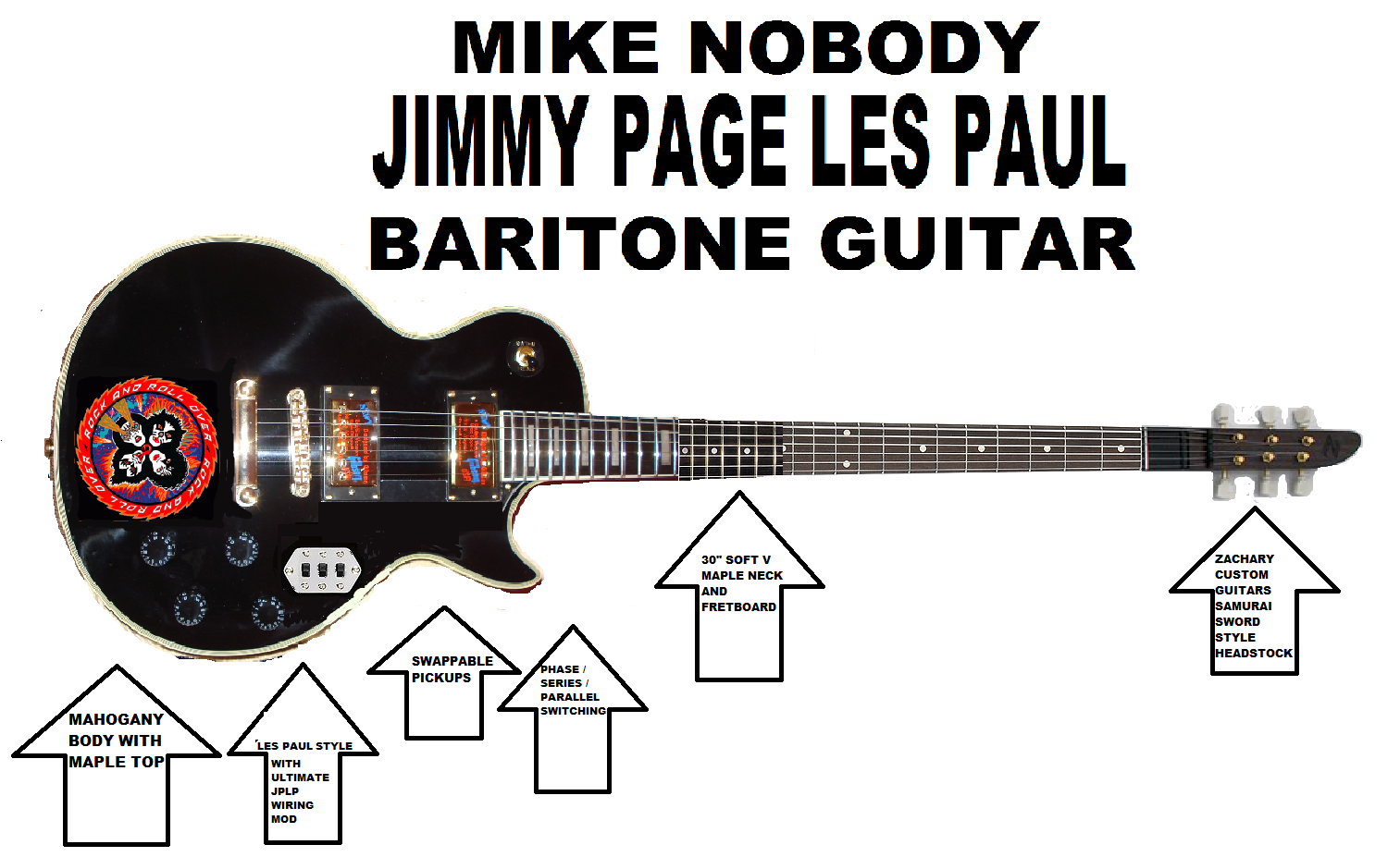 NegativeM+ Mike Nobody Jimmy Page Les Paul Baritone Guitar